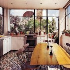 penthouse kitchen with patterned tile floor - NY Mag via Atticmag