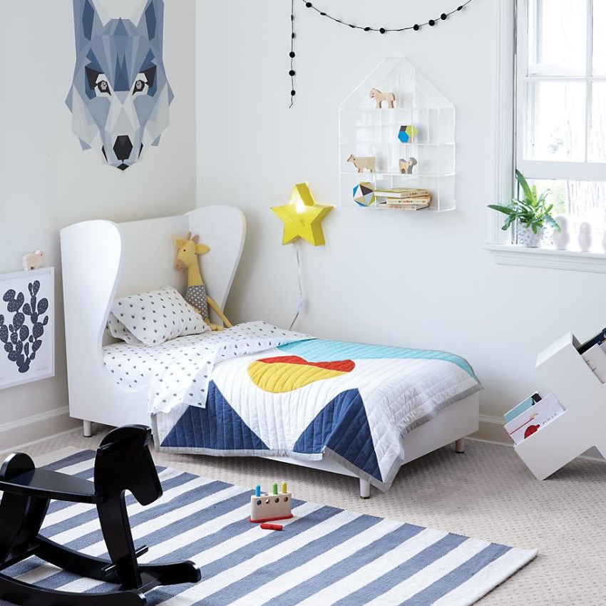 kids room rugs - blue denim and white striped area rug - Land of Nod via Atticmag