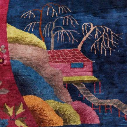 rug artistry - blue chinese art deco carpet with scene of a house on a river - 1st Dibs via Atticmag