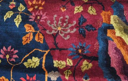 rug artistry - detail of Nichols Chinese art deco carpet with floral motifs - 1st Dibs via Atticmag