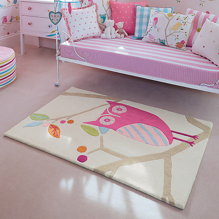 kids room rugs - Candy color What a Hoot rug owl rug in pink - Harlequin Kids via Atticmag