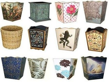 Handpainted And Decoupaged Decorative Wastebaskets From Marye Kelley Via Atticmag