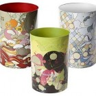 decorative wastebaskets - colorful modern metal wastebaskets from the Container Store via Atticmag