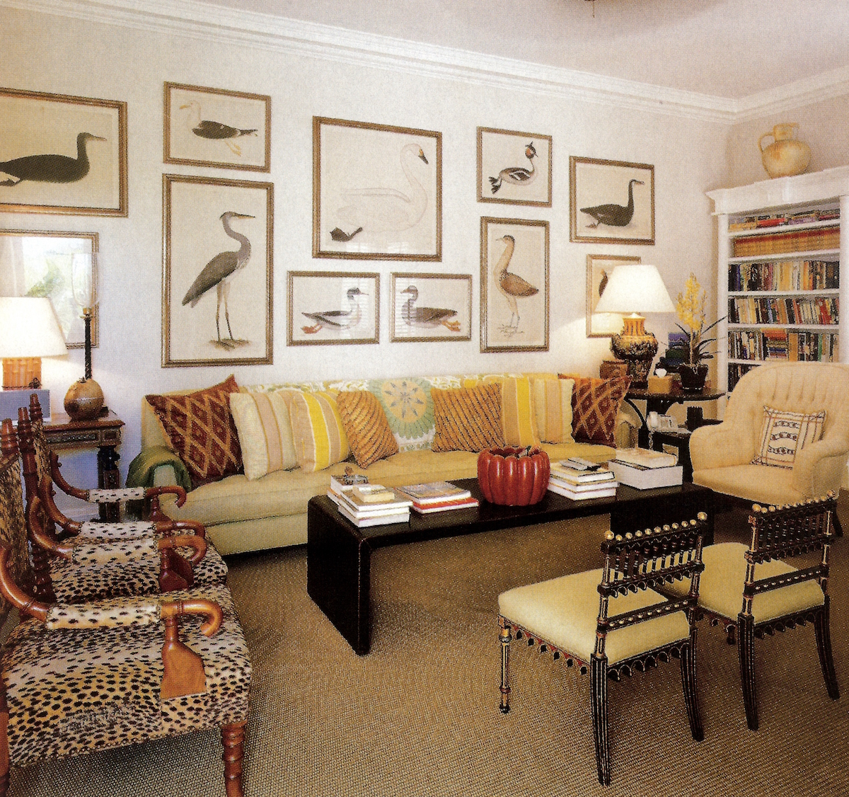 picture wall ideas - bird prints spaced out on a wall in Bunny Williams' home - Town & Country via Atticmag