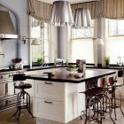 black and white Smallbone kitchen in a house by Robert Couturier - House & Garden via Atticmag