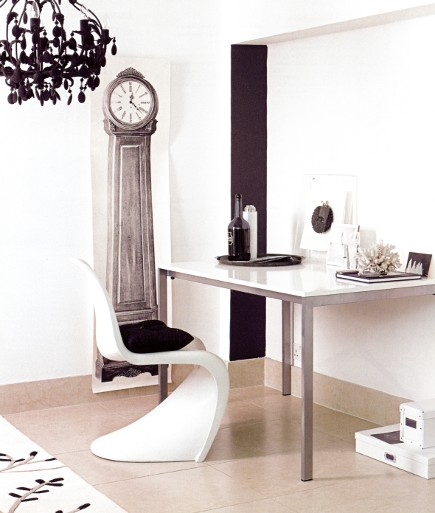 white rooms - white work space with faux clock and natural stone floor - Living etc via Atticmag
