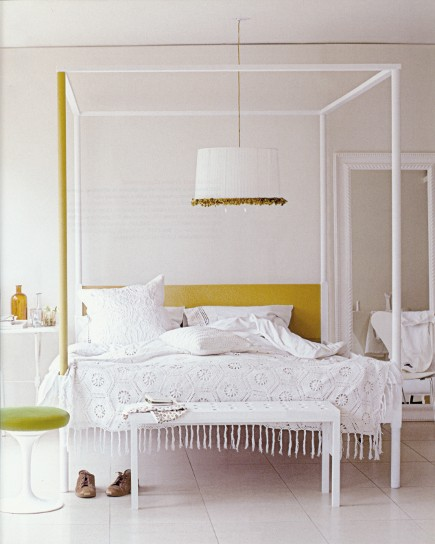 white rooms - girly white bedroom with gold accents - Living etc via Atticmag