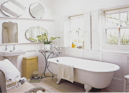 white rooms - all white cottage bathroom with multiple mirrors - via Atticmag