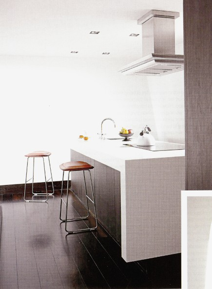 white rooms - white minimalist kitchen with a java floor - via Atticmag