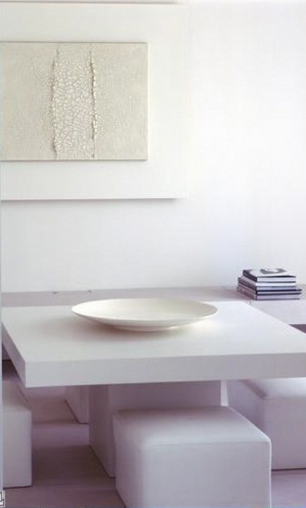 white rooms - dining area in a loft by Claudio Silvestrin via Atticmag