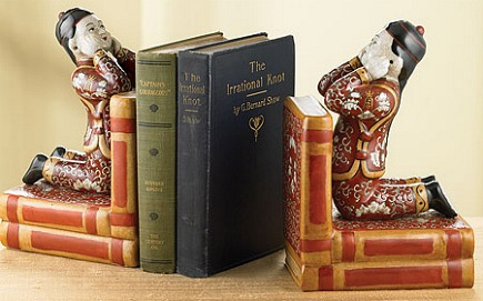 bookends - porcelain Chinese Scholar decorative bookends from the Smithsonian Store - via Atticmag