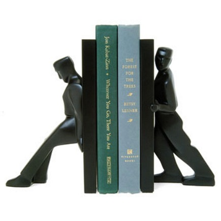 bookends - modern pushing men decorative bookends from Wrapables via Atticmag