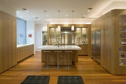 Eucalyptus Kitchen   Contemporary Kitchen With Eucalyptus Cabinets Mixed  With Stainless Steel   Alterstudio Via Atticmag