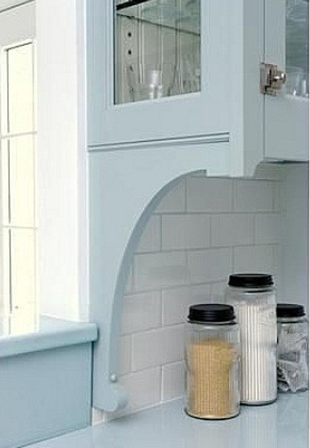 kitchen feature ideas - decorative bracket support for upper cabinet - daily wag via atticmag