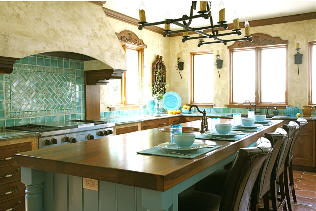 turquoise tile kitchen rh atticmag com  mexican style kitchen design