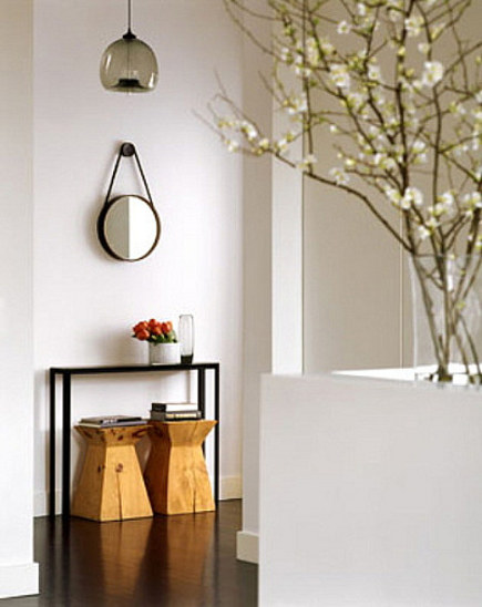 loft entry - entry hall furniture in a loft by S. Russell Groves - via Atticmag