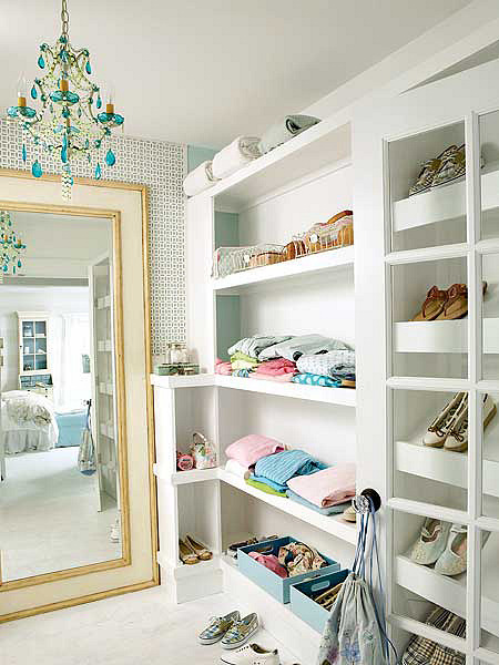 urquoise chandeliers - walk in closet with turquoise crystal chandelier - Coastal Living via Atticmag
