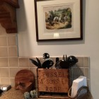 wooden boxes - Fussel & Sons wooden ale box from England repurposed as a kitchen utensil holder - Atticmag