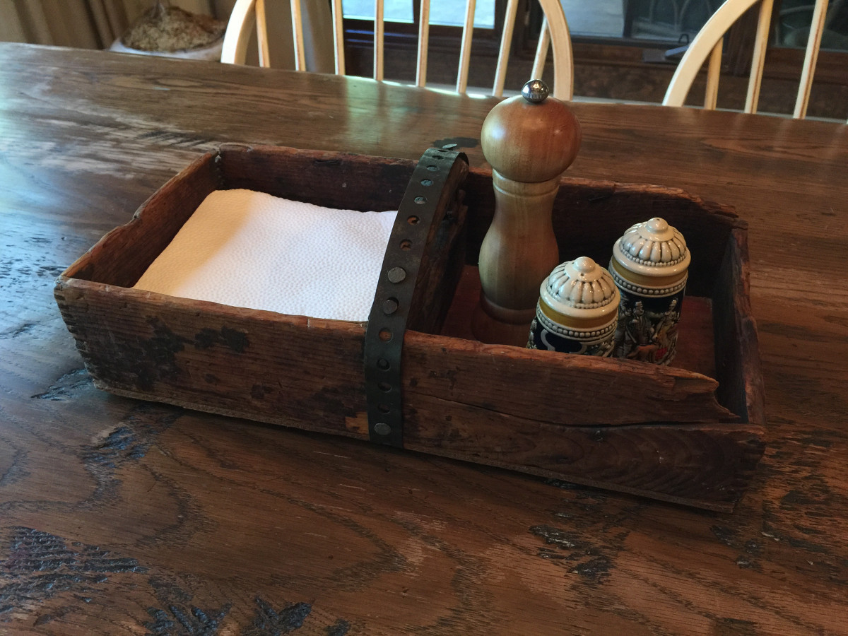 wooden boxes - repurposed vintage wooden shop box with metal handle repurposed as a table caddy - Atticmag