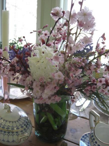 heirloom tablescape - pink dogwood, white and purple hyacinths from the spring garden - Atticmag