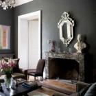dark rooms - dark gray walls in a living room - light locations via atticmag