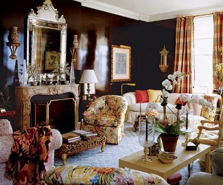 dark walls - chocolate brown lacquer walls in a Mario Buatta living room - via Atticmag