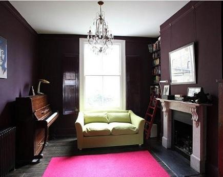 dark rooms - eggplant-brown living room painted with Farrow and Ball's Brinjal - via Atticmag