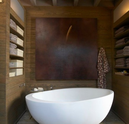 master bath - master with modern egg-shaped freestanding oval bathtub with floor mounted tub filler - via Atticmag