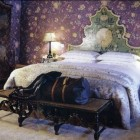 all over print - Arbre Indien Violet fabric from Claremont in a room in Switzerland by Nicky Haslam - WOI via Atticmag