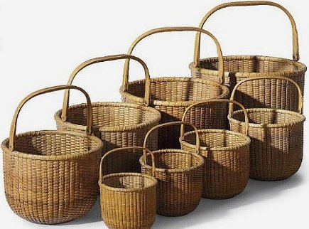 Nantucket Lightship baskets in different sizes - Nantucket baskets via Atticmag