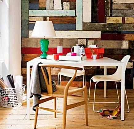 color block walls - dining room picture wall assembled from colorful wood boards - Living etc. via Atticmag