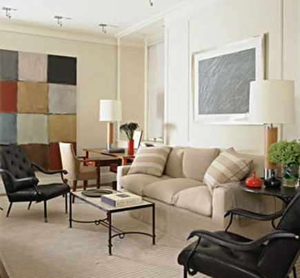 color block painting on a living room wall in a collector's home - David Kleinberg Design via Atticmag