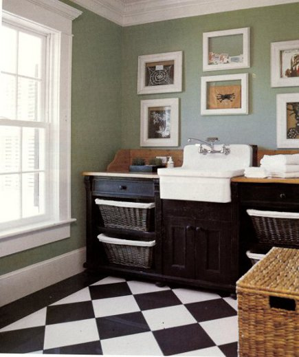 Kohler Gilford sink in laundry room with wall-mount sink faucet - Country Home via Atticmag