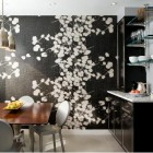 black wall mural in Darci Hether dining room - via Atticmag