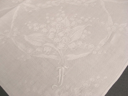 floral linens - monogrammed damask napkin with lily of the valley motif - Atticmag