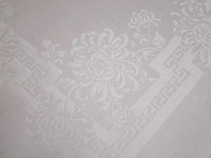 floral linens - white vintage damask napkin with carnation and greek key motif - Atticmag