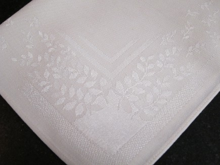floral linens - white damask cocktail napkins with leaves and garden motif - Atticmag
