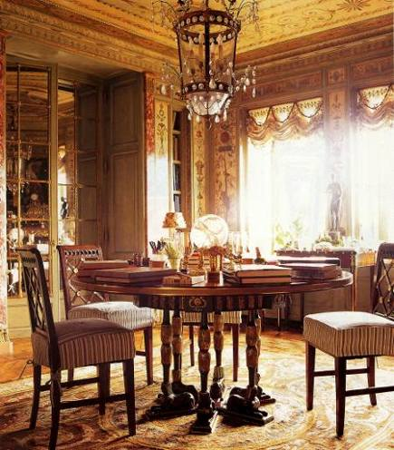 extreme decorating - Empire style eau de nil dining room in Howard Slatkin's apartment - NY Mag via Atticmag