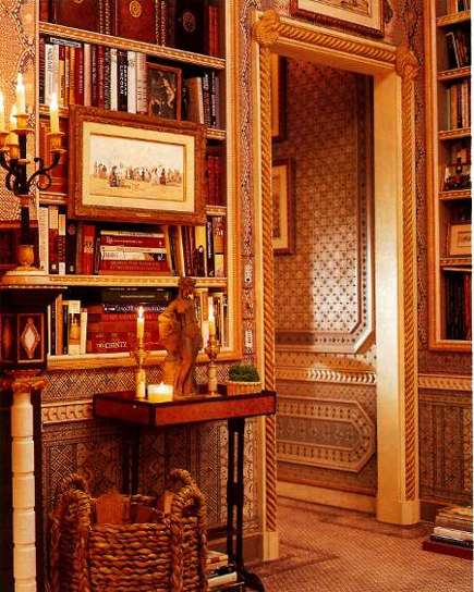 extreme decorating elaborately detailed doorway in the master bedroom of Howard Slatkin's apartment - NY Mag via Atticmag