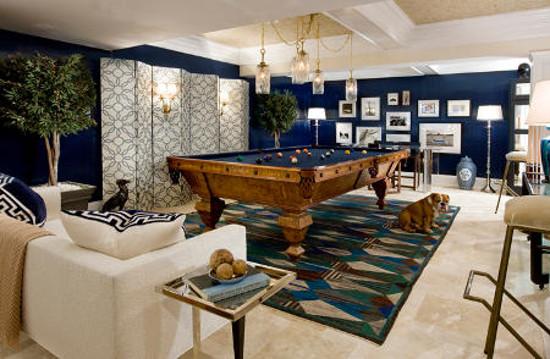 game room by bradley stephens in Hamptons Designer Show House with Blatt billiard table - via Atticmag