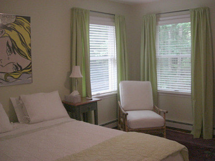 curtain secrets - re-hemmed rod pocket curtains in place in the guest room - Atticmag