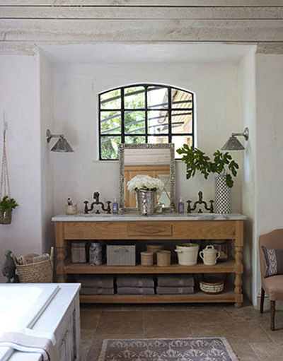 rustic master bath custom sink console with open shelf - House Beautiful via Atticmag