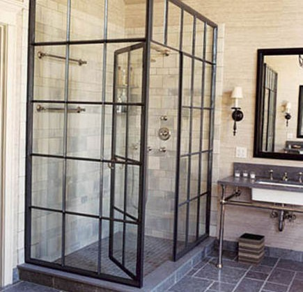 steel frame casement window shower by Jeffrey Bilhuber