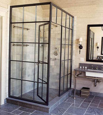 steel windows - steel frame casement window shower by Jeffrey Bilhuber - House Beautiful via Atticmag