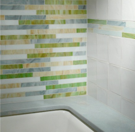 Kelly Green Bathroom Stained Gl Mosaic Tile And Blue Celeste Polished Marble Tub Deck