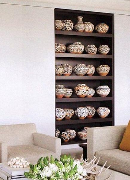 large collections - display of Acoma pottery Jim Rimelspach - Veranda via Atticmag