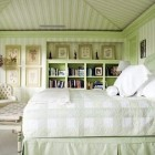 pale green celery striped classic guest bedroom by Celerie Kemble