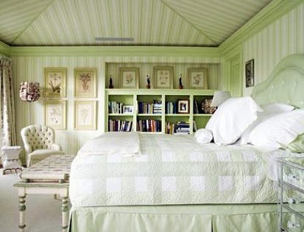 pale green celery striped classic guest bedroom by Celerie Kemble - Southern Accents via Atticmag