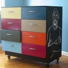 chalkboard decor - metal drawer cabinet with chalkboard painted sides - flickr via Atticmag