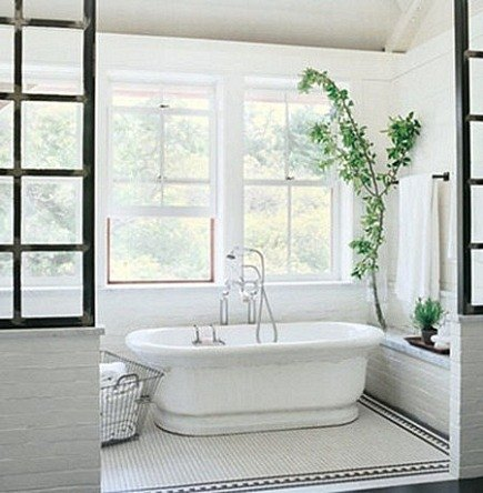 Interior Window Walls   Interior Steel Casement Window Wall In Bathroom  Madeline Stuart Via Atticmag